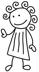 Stickfigure Girl With Curly Hair