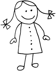 Stickfigure Girl With Pig Tails